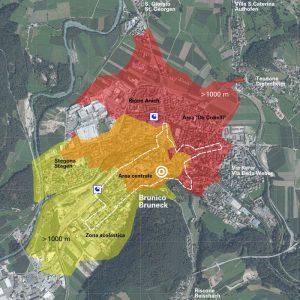 Erreichbarkeit der beiden Bahnhaltestellen Bruneck, Radius 1000 m, effektive Fuß- und Radwege