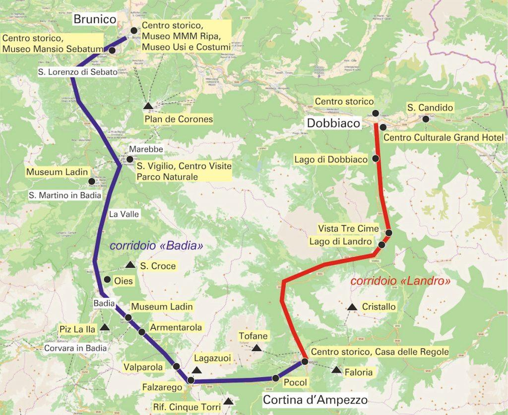 Ferrovia Pusteria-Cortina: corridoi e punti di interesse