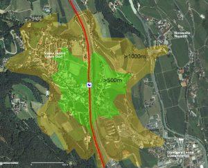 Einzugsgebiet Bahnhaltestelle Vahrn, effektive Fußwege